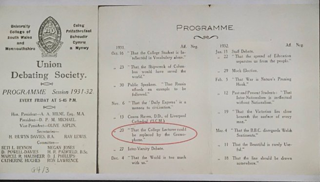 Scan of University College of South Wales Union Debating Society Programme 1931-1932.