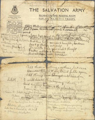 Pencil draft with opening lines related to 'Daughters of War' by Isaac Rosenberg (1916/17 France). c. The Imperial War Museum/The Isaac Rosenberg Literary Estate.