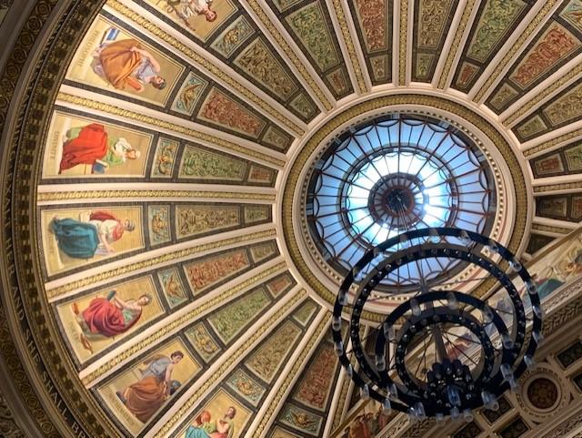 Painted dome and inscription of McEwan Hall, Edinburgh